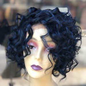 Blue curly bob Lacefront wig 2020